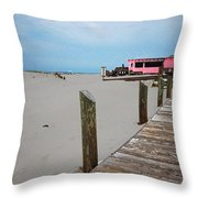 Pink Pony And Boardwalk Throw Pillow