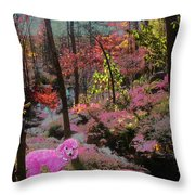 Pink Poodle Paradise Throw Pillow