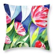 Pink Poppies Batik Style Throw Pillow