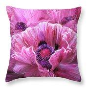 Pink Poppy Splash Throw Pillow
