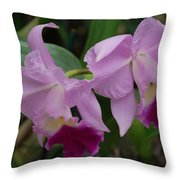 Pink Purple Orchids Throw Pillow