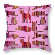 Pink Pussy Cat Throw Pillow