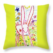 Pink Rabbit Throw Pillow