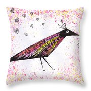 Pink Raven With Heart Throw Pillow