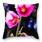 Pink Red Flower Throw Pillow