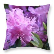 Light Purple Rhododendron With Leaves Throw Pillow