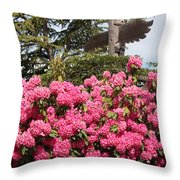 Pink Rhododendrons With Totem Pole Throw Pillow