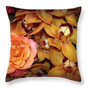 Pink Rose And Yellow Orchids Throw Pillow