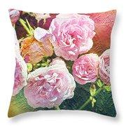 Pink Rose Artwork Throw Pillow