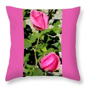 Pink Rose Buds Throw Pillow