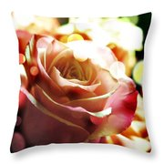 Pink Rose In Sparkling Lights Throw Pillow