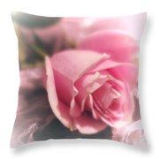 Pink Rose Macro Abstract 1 Throw Pillow