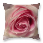 Pink Rose Macro Abstract Throw Pillow