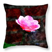 Pink Rose On Red Brick Wall Throw Pillow