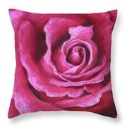 Pink Rose Pastel Painting Throw Pillow