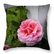 Pink Rose Throw Pillow by Valeria Donaldson