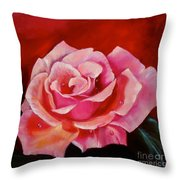 Pink Rose With Dew Drops Jenny Lee Discount Throw Pillow