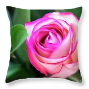 Pink Rose With Leaves Throw Pillow