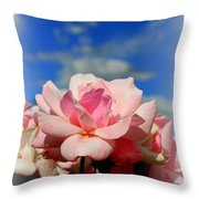 Pink Roses Against The Beautiful Arizona Sky Throw Pillow
