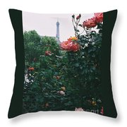 Pink Roses And The Eiffel Tower Throw Pillow