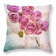 Pink Roses Beauty Throw Pillow