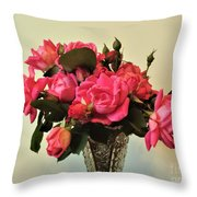 Pink Roses Bouquet 2 Throw Pillow