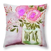 Pink Roses By Toni Throw Pillow