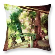 Pink Roses On The Porch Throw Pillow