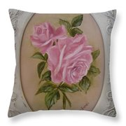 Pink Roses Oval Framed Throw Pillow