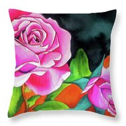 Pink Roses With Orange Throw Pillow