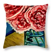 Pink Ruffled Peonies Throw Pillow