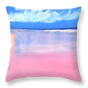 Pink Sand In Harbor Island - Bahamas Throw Pillow