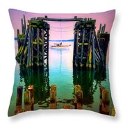 Pink Skies In Port Townsend Throw Pillow