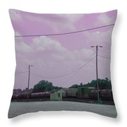 Pink Sky And Trains Throw Pillow