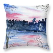 Pink Sky Reflections Throw Pillow