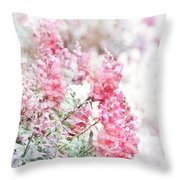 Pink Snapdragons Watercolor Throw Pillow