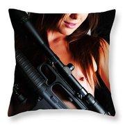 Pink Sniper Throw Pillow