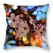 Pink Spring Flowers Throw Pillow