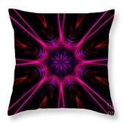 Pink Starburst Fractal  Throw Pillow