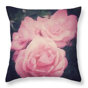 Pink Summer Roses Throw Pillow