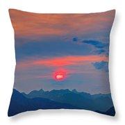 Pink Sun Throw Pillow