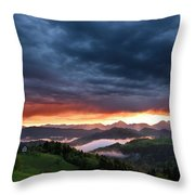 Pink Sunrise And Blue Clouds In The Mountains Of Kamnik Savinja  Throw Pillow