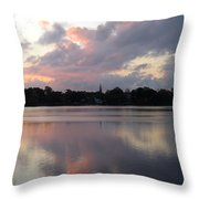 Pink Sunrise With Dramatic Clouds And Steeple On Jamaica Pond Throw Pillow