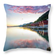 Pink Sunset Over A Lagoon In Norway Throw Pillow