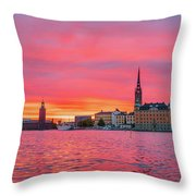Pink Sunset Over Stockholm Throw Pillow