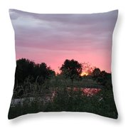 Pink Sunset With Green Riverbank Throw Pillow