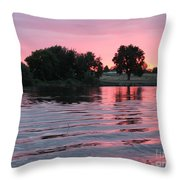 Pink Sunset With Soft Waves Throw Pillow