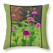 Pink Tall Zinnia's Throw Pillow