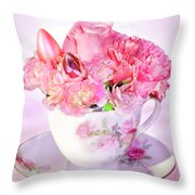 Pink Teacup Bouquet Throw Pillow