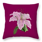 Pink Tiger Lily Blossom Throw Pillow